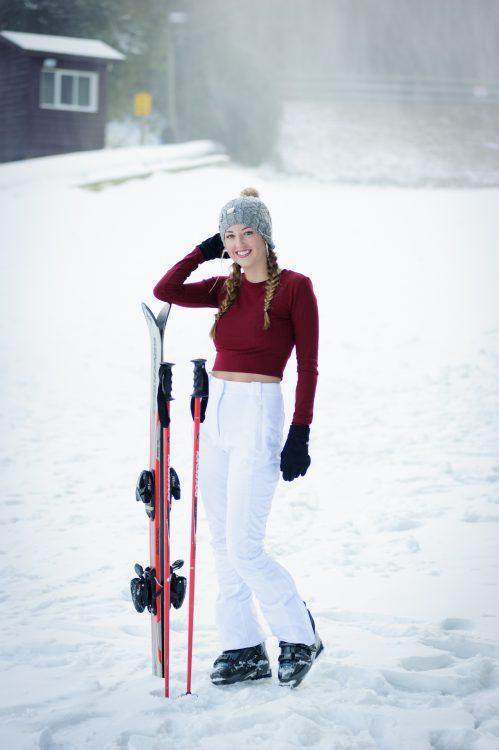 Ski Snow Senior Portraits Asheville